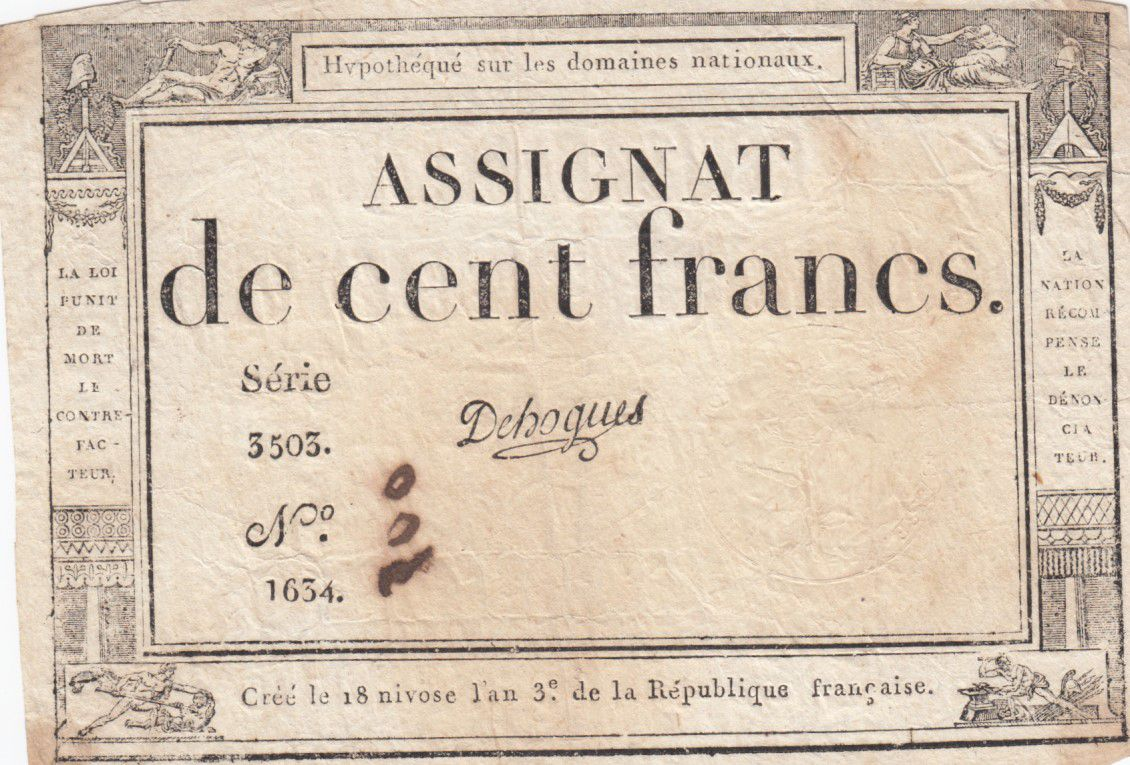 France 100 Francs 18 Nivose An III - 7.1.1795 - Sign. Dehogues Série 3503