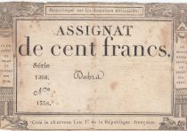 France 100 Francs 18 Nivose An III - 7.1.1795 - Sign. Dubra Serial 1268