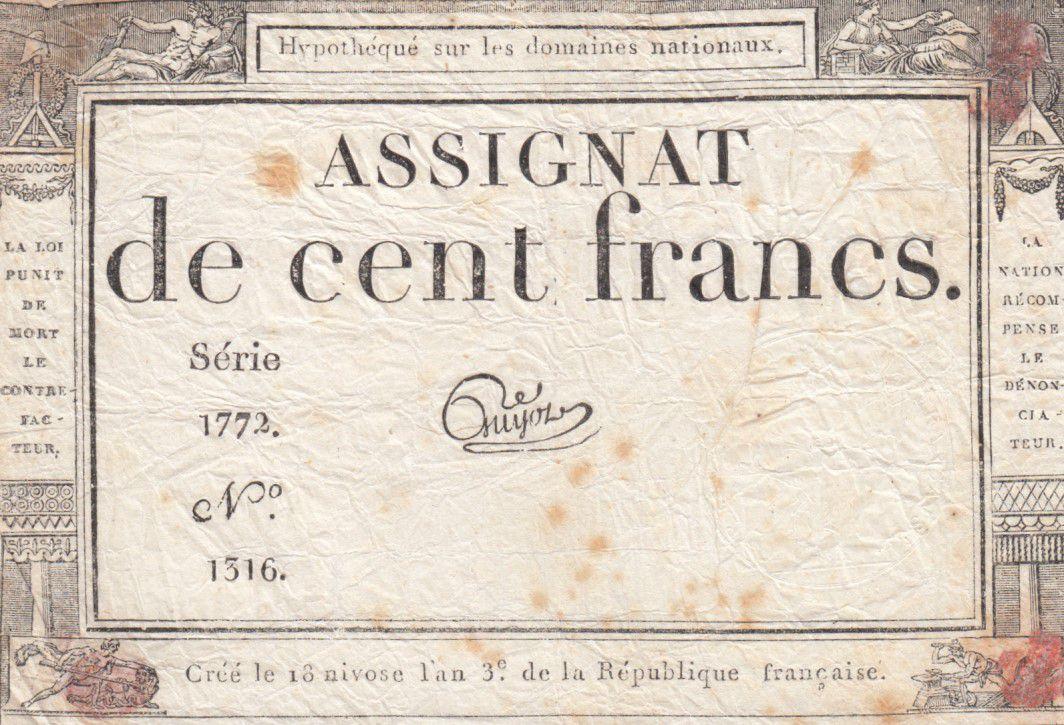 France 100 Francs 18 Nivose An III - 7.1.1795 - Sign. Guyot