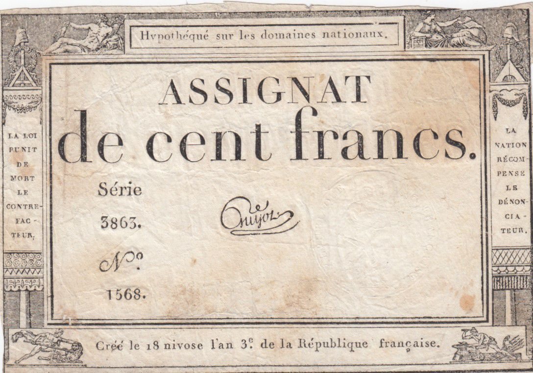 France 100 Francs 18 Nivose An III - 7.1.1795 - Sign. Guyot Série 3863