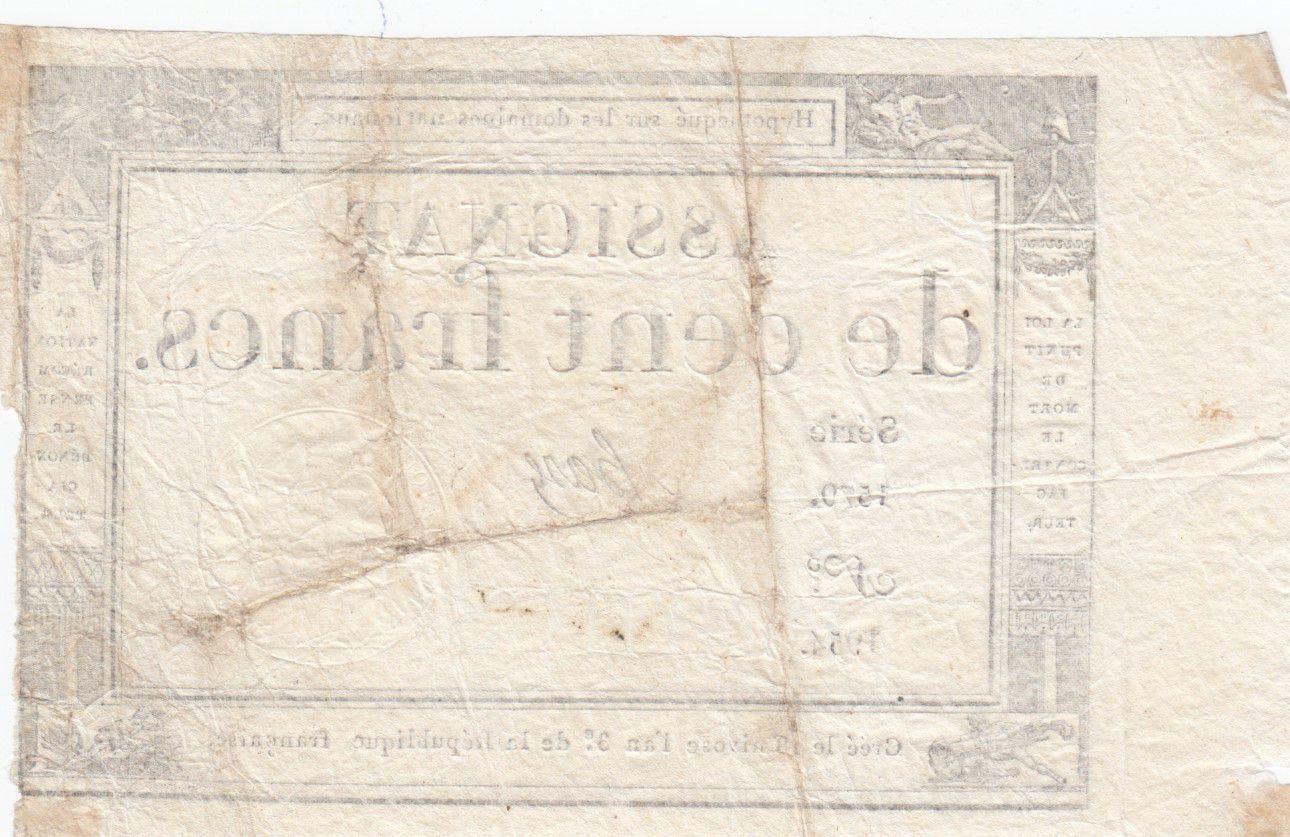 France 100 Francs 18 Nivose An III - 7.1.1795 - Sign. Haze