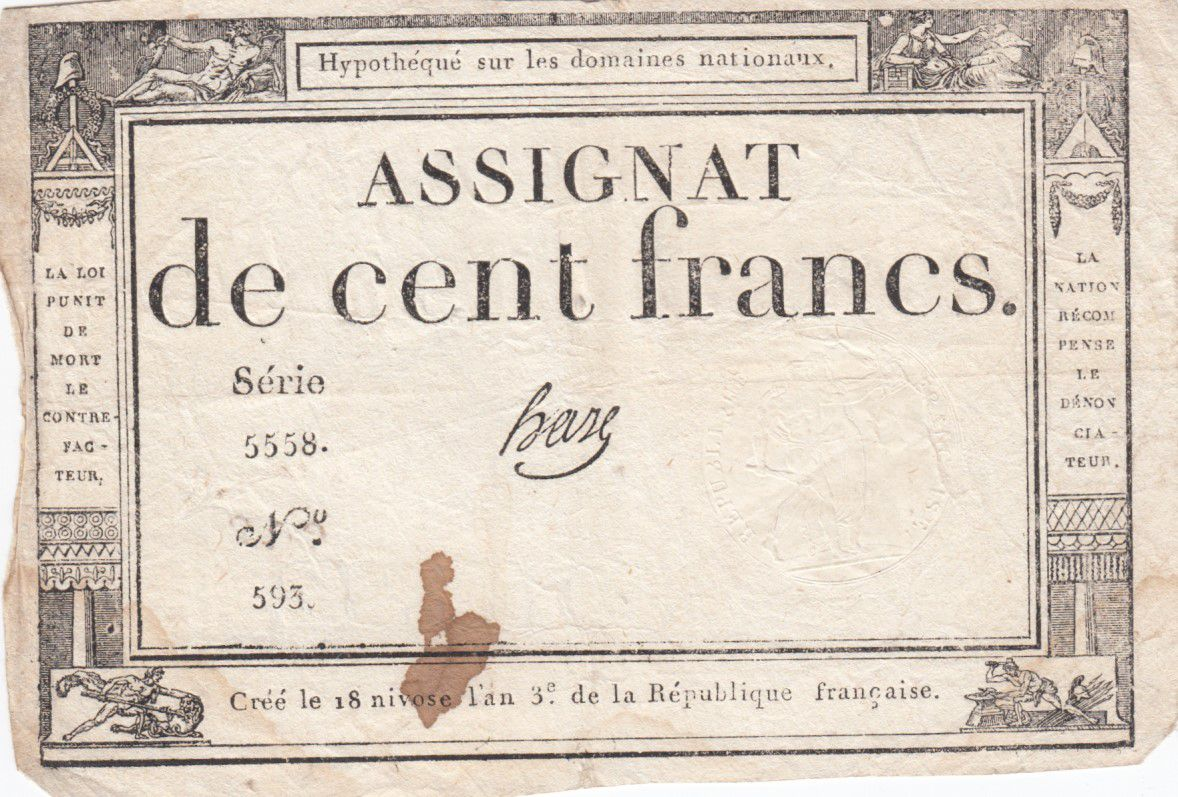 France 100 Francs 18 Nivose An III - 7.1.1795 - Sign. Haze