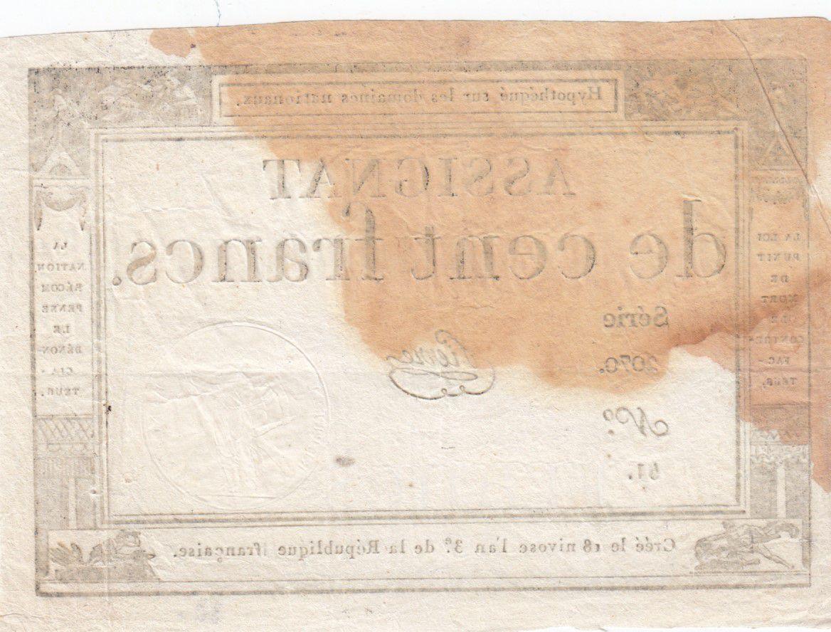 France 100 Francs 18 Nivose An III - 7.1.1795 - Sign. Pierre