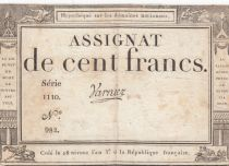 France 100 Francs 18 Nivose An III - 7.1.1795 - Sign. Varnier Serial 1110