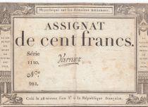 France 100 Francs 18 Nivose An III - 7.1.1795 - Sign. Varnier Serial 1110