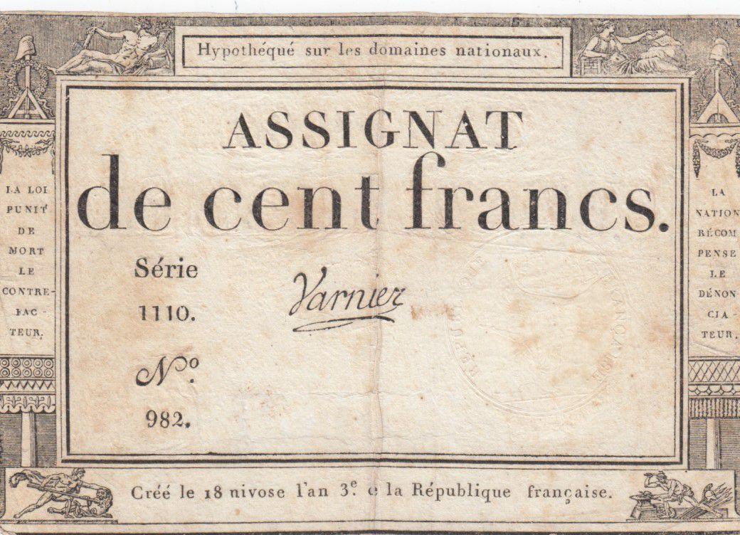 France 100 Francs 18 Nivose An III - 7.1.1795 - Sign. Varnier Série 1110