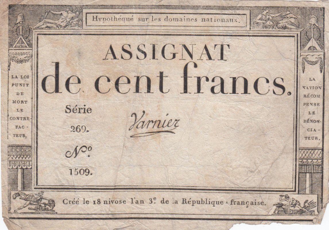 France 100 Francs 18 Nivose An III - 7.1.1795 - Sign. Varnier Série 269