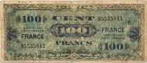 France 100 Francs Allied Military Currency - 1944 - Serial 6 - VG to F