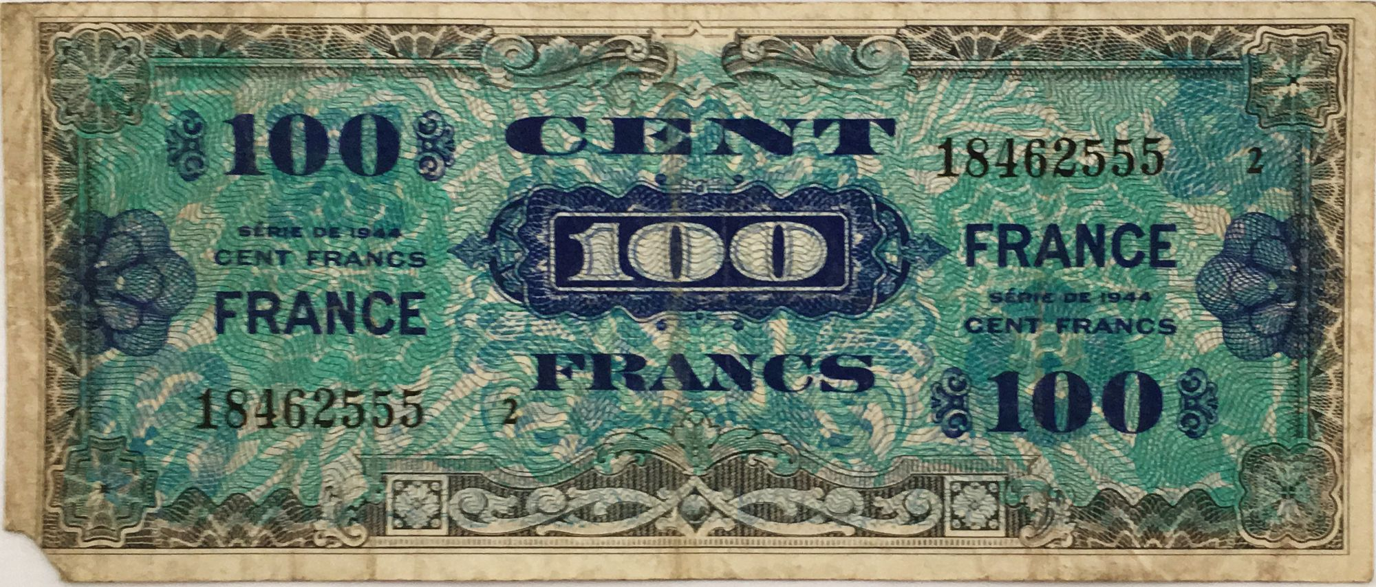 France 100 Francs Allied Military Currency - 1944 - Serial Small 2 - VG to F