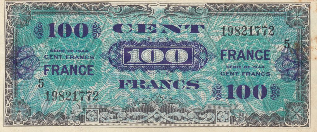 France 100 Francs Allied Military Currency - 1945 Serial 5 - VF+