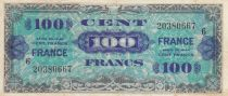 France 100 Francs Allied Military Currency - 1945 Serial 6 - VF