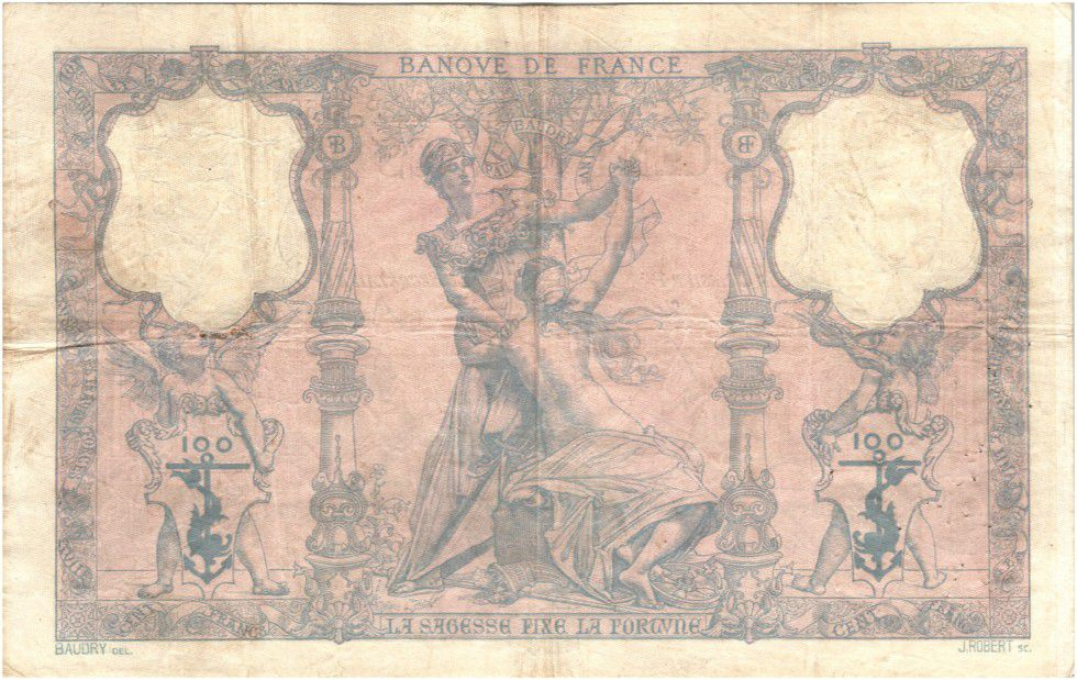France 100 Francs Blue and pink - 1897