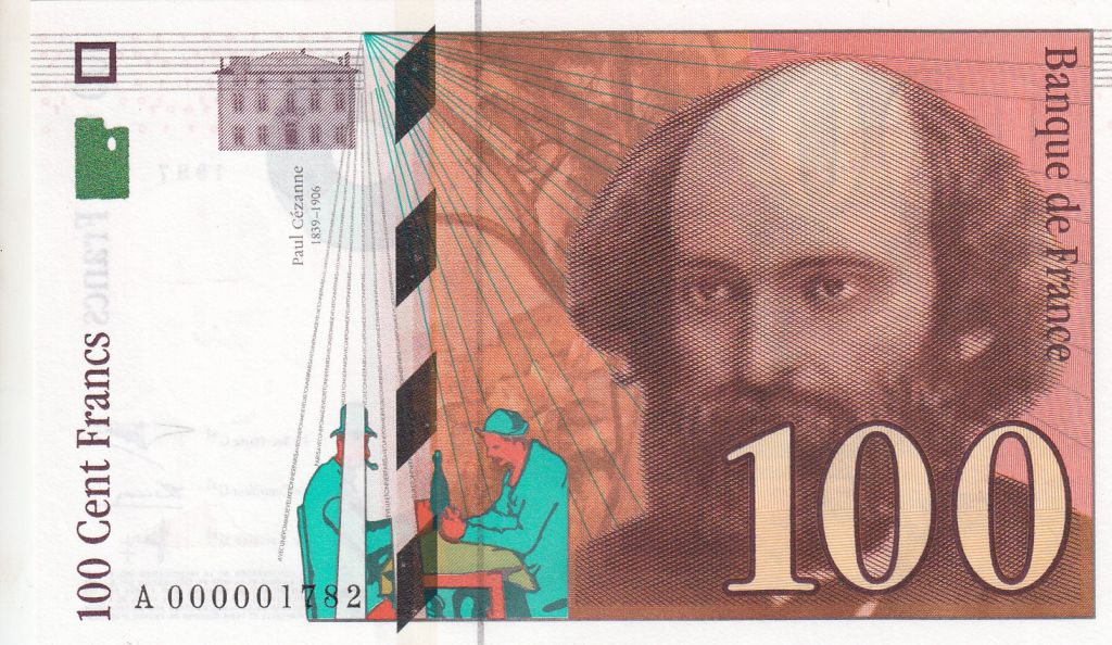 France 100 Francs Cezanne - 1997 A000001782 small serial number