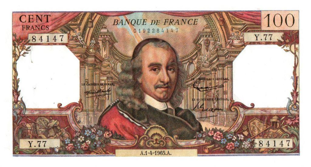 France 100 Francs Corneille - 01-04-1965 - Série Y.77