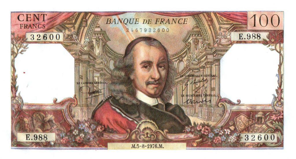 France 100 Francs Corneille - 1976-08-05 - Serial E.988