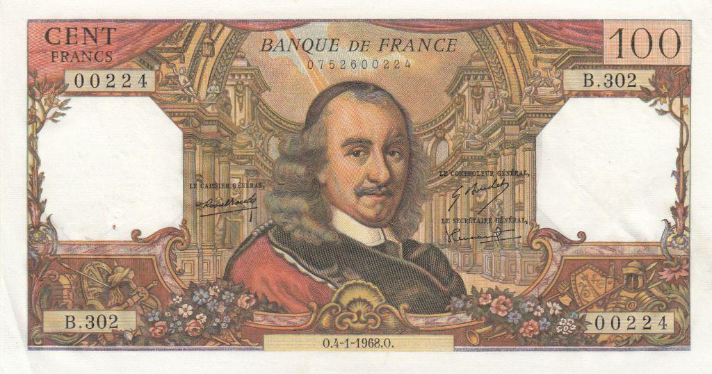 France 100 Francs Corneille 04-01-1968 - Série B.302