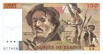 France 100 Francs Delacroix - 1978 Serial E.8 - Large watermark - VF
