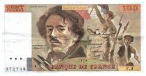 France 100 Francs Delacroix - 1978 Serial F.9 - Large watermark - VF