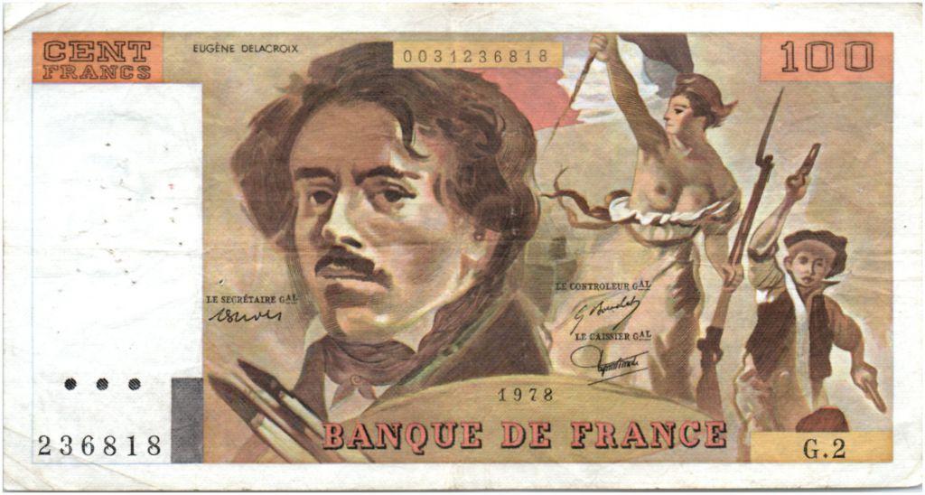 France 100 Francs Delacroix - 1978 Serial G.2 - P.153 - F+