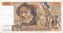 France 100 Francs Delacroix - 1978 Serial G.4 - Hatched - VF