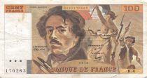 France 100 Francs Delacroix - 1978 Serial H.4 - Hatched - VF