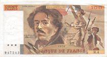 France 100 Francs Delacroix - 1978 Serial H.4-947243 - Hatched - VF