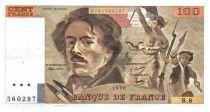 France 100 Francs Delacroix - 1978 Serial R.8 - Large watermark - VF