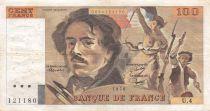 France 100 Francs Delacroix - 1978 Serial U.4 - Hatched - VF
