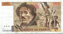 France 100 Francs Delacroix - 1978 Serial W.2 - P.153 - F+