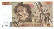 France 100 Francs Delacroix - 1978 Serial W.8 - Large watermark - VF