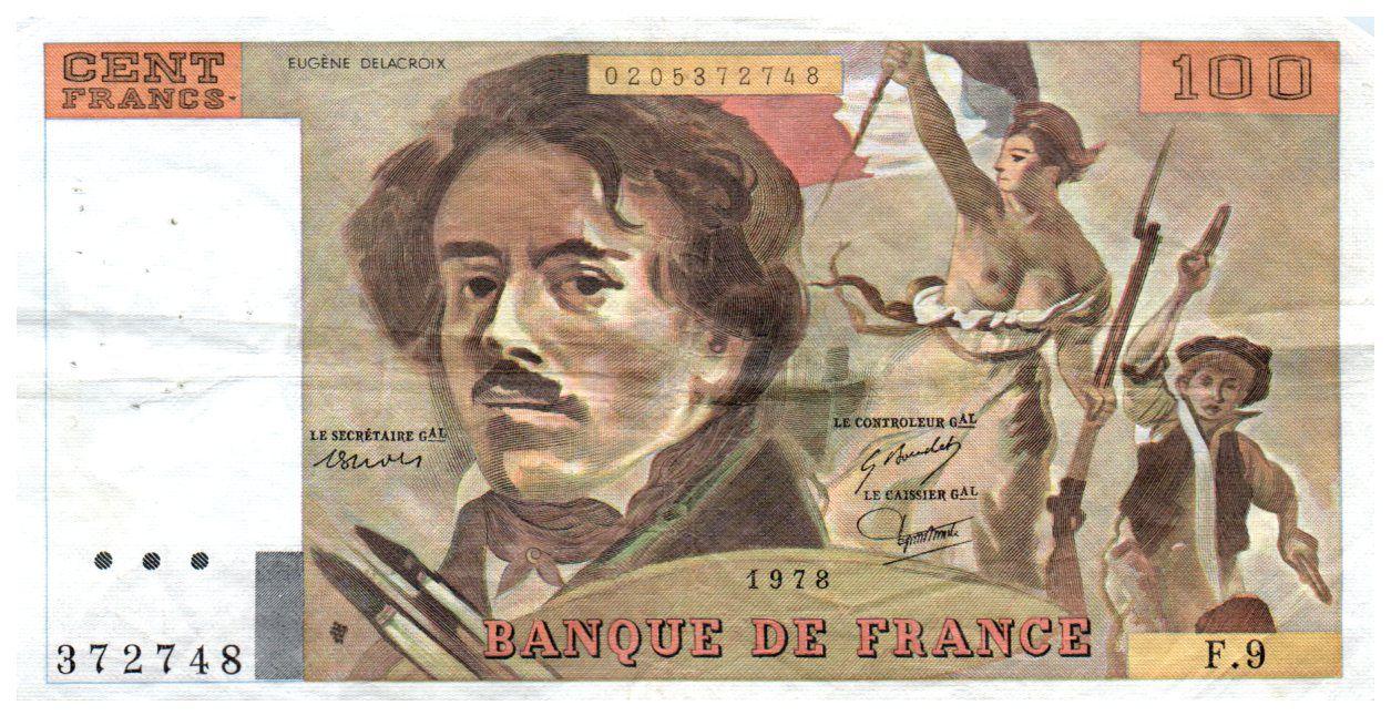France 100 Francs Delacroix - 1978 Série F.9 - Grand filigrane - TTB