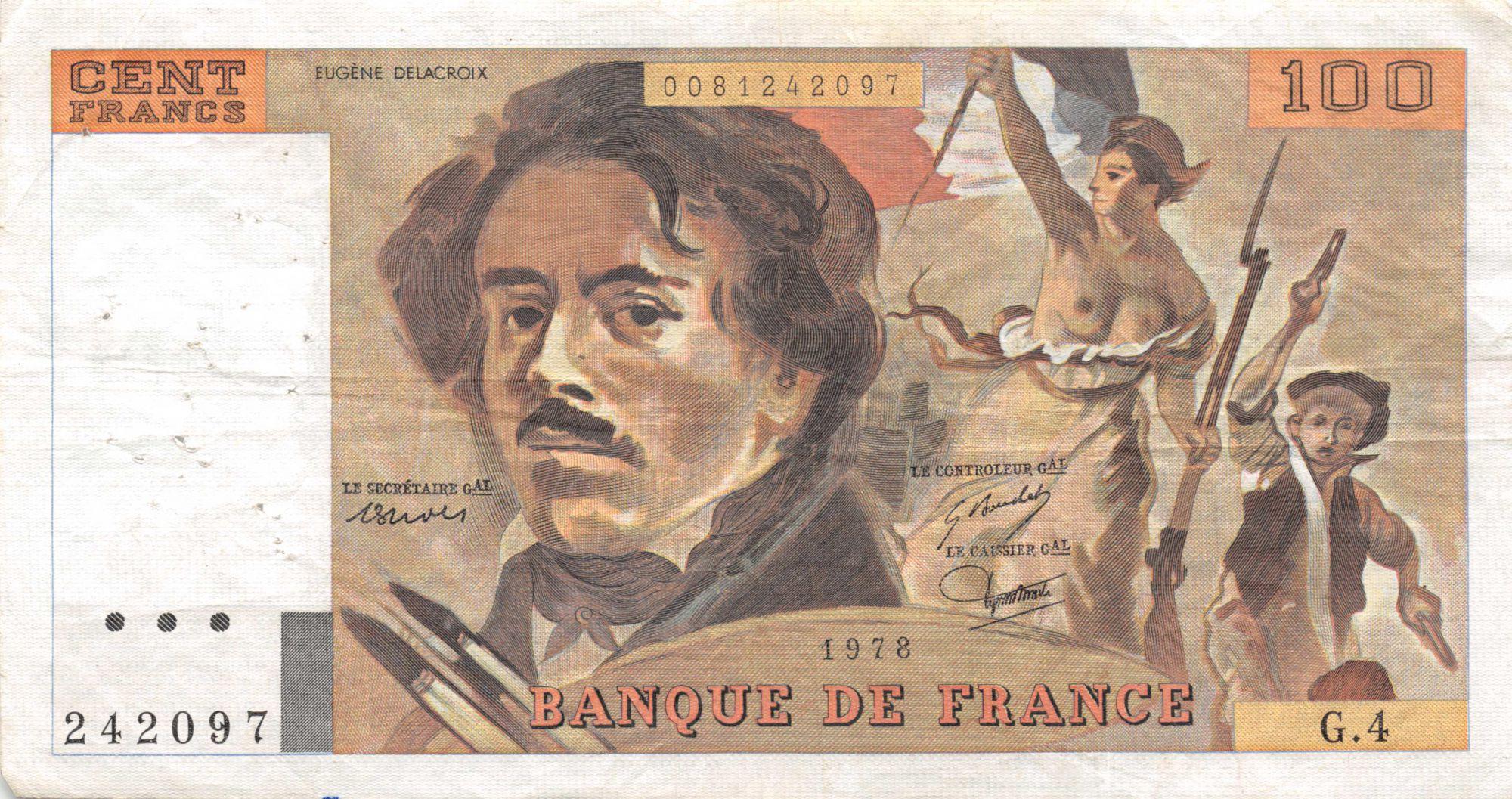 France 100 Francs Delacroix - 1978 Série G.4 - Hachuré - TTB
