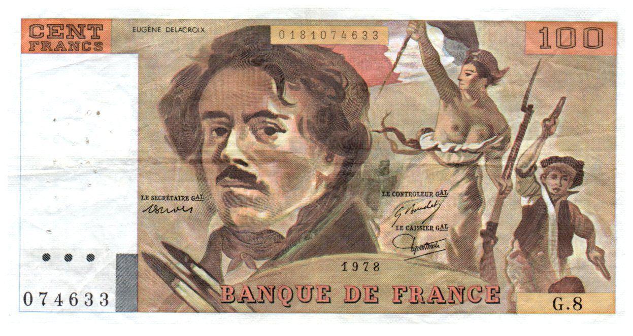 France 100 Francs Delacroix - 1978 Série G.8 - Grand filigrane - TTB