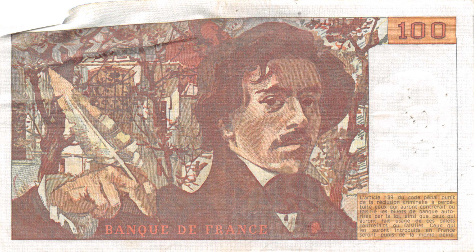 France 100 Francs Delacroix - 1978 Série H.4-947243 - Hachuré - TTB