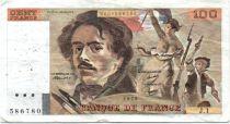 France 100 Francs Delacroix - 1978 Série J.1 - Non Hachuré - TB+/TTB