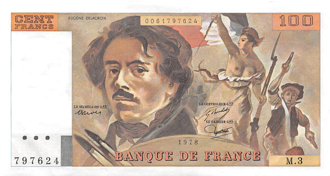 France 100 Francs Delacroix - 1978 Série M.3 - SUP