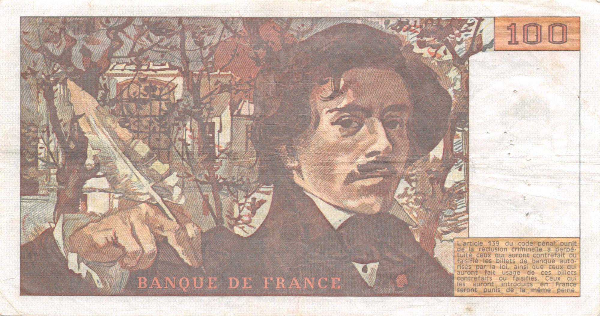 France 100 Francs Delacroix - 1978 Série M.4 - Hachuré - TTB