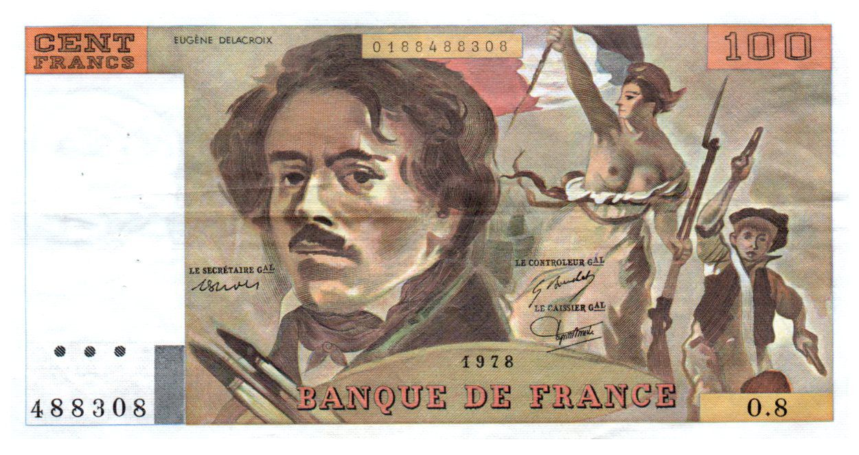 France 100 Francs Delacroix - 1978 Série O.8 - Grand filigrane - TTB