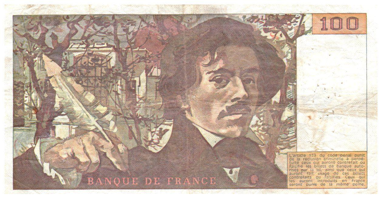 France 100 Francs Delacroix - 1978 Série S.8 - Grand filigrane - TTB