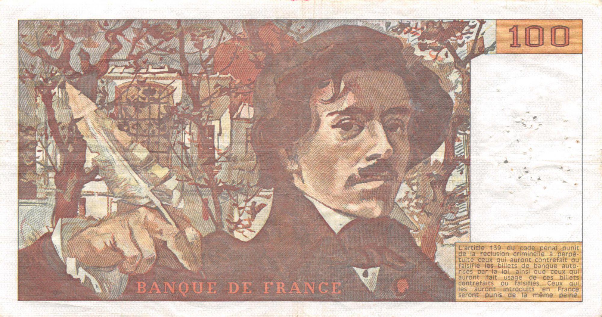 France 100 Francs Delacroix - 1978 Série T.4 - Hachuré - TTB