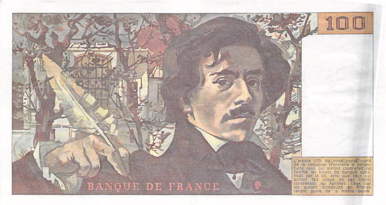 France 100 Francs Delacroix - 1981 Serial H.44 - XF