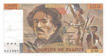 France 100 Francs Delacroix - 1981 Serial U.53 - XF