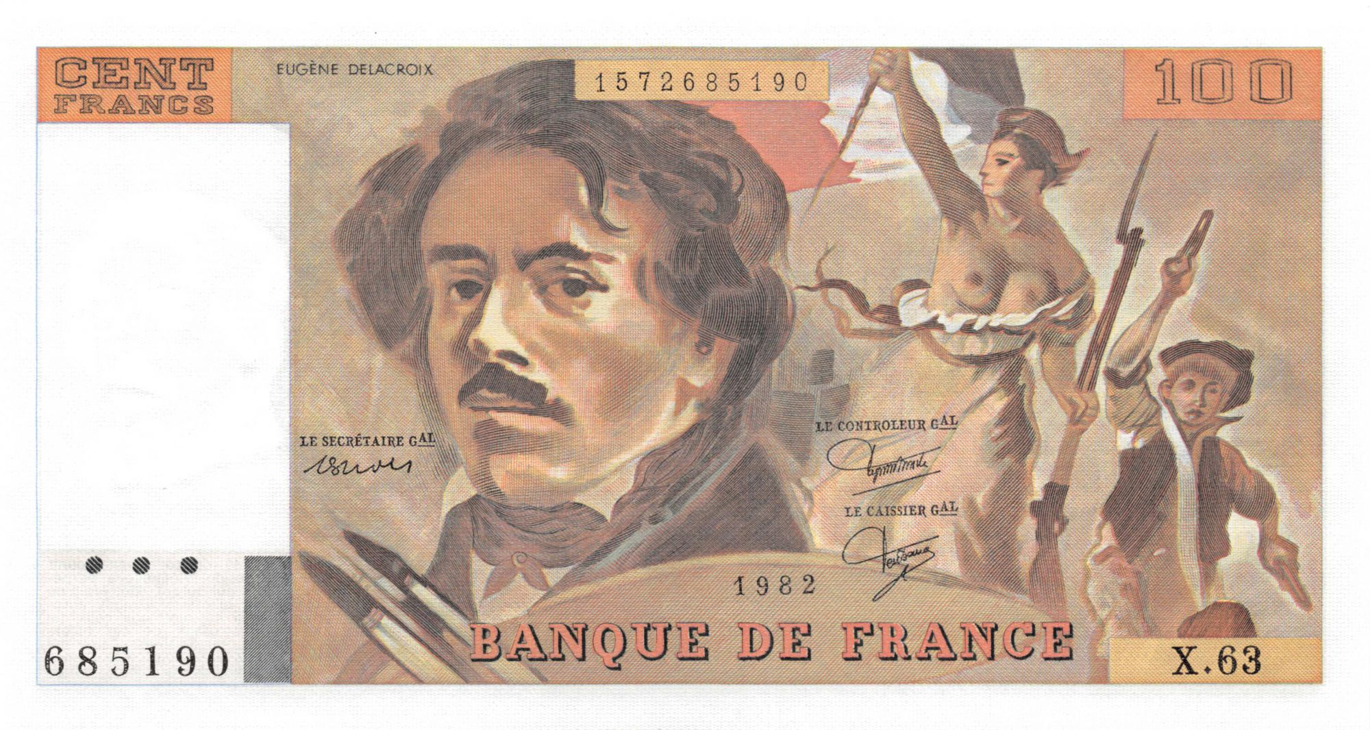 France 100 Francs Delacroix - 1982 Série X.63 - NEUF