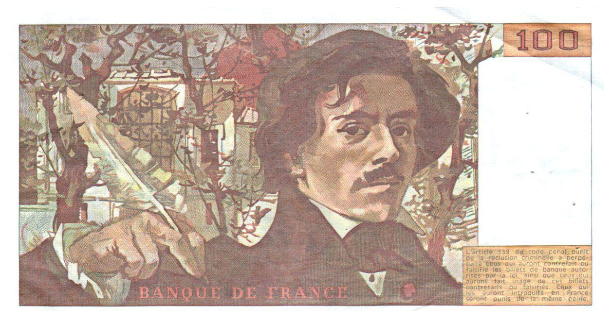 France 100 Francs Delacroix - 1982 VF