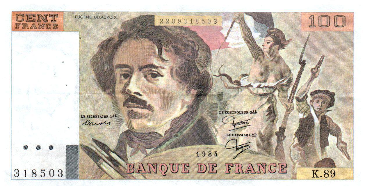 France 100 Francs Delacroix - 1984 Série K.89 - TTB