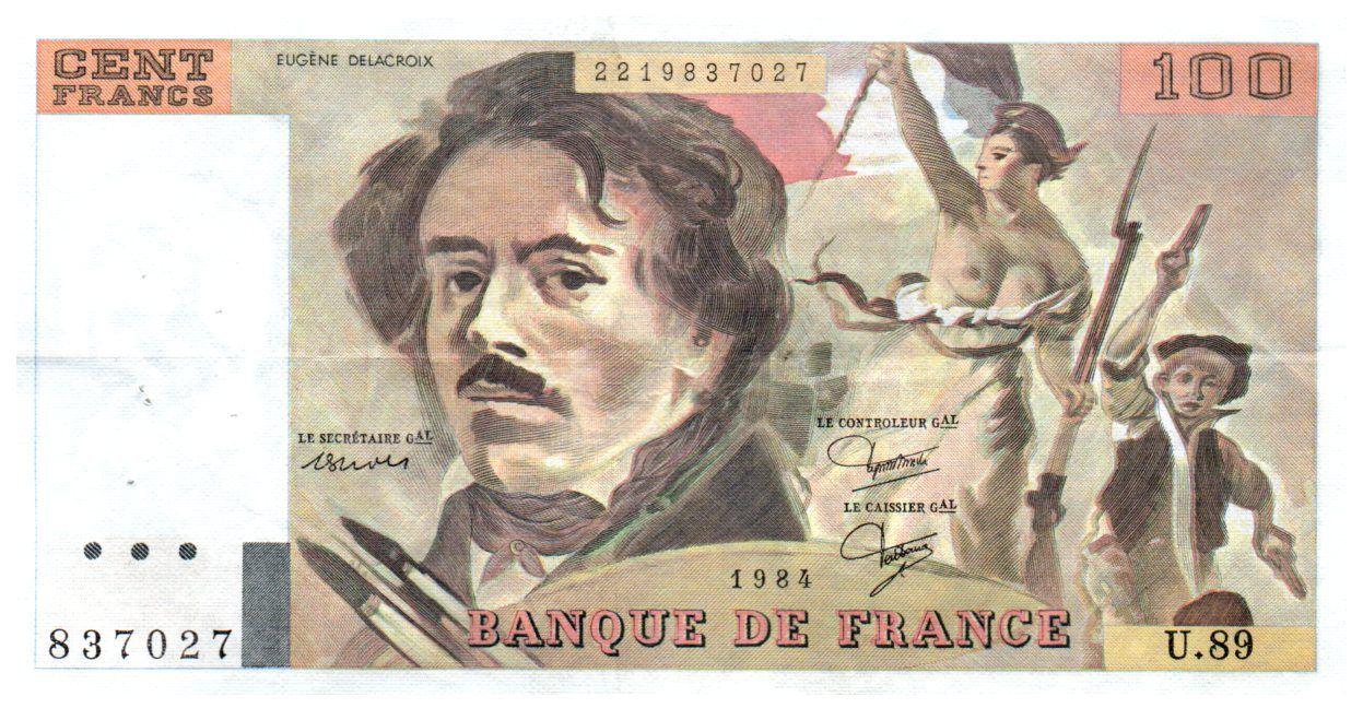 France 100 Francs Delacroix - 1984 Série U.89 - TTB