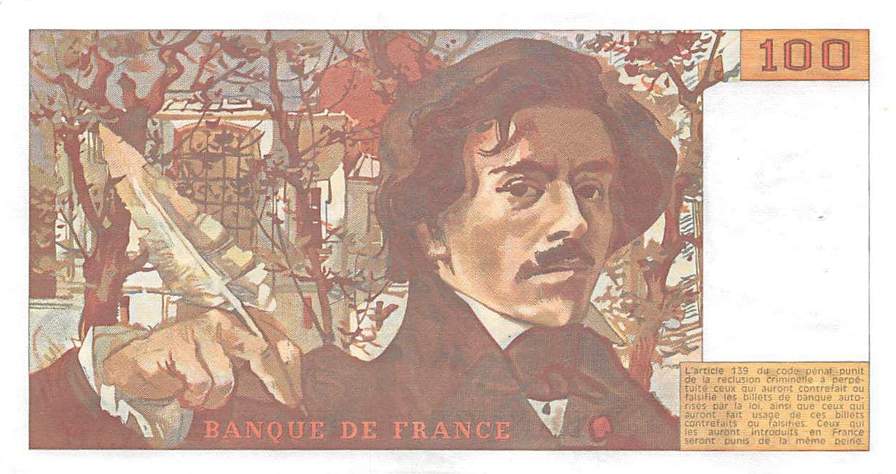 France 100 Francs Delacroix - 1986 Serial V.111 - XF