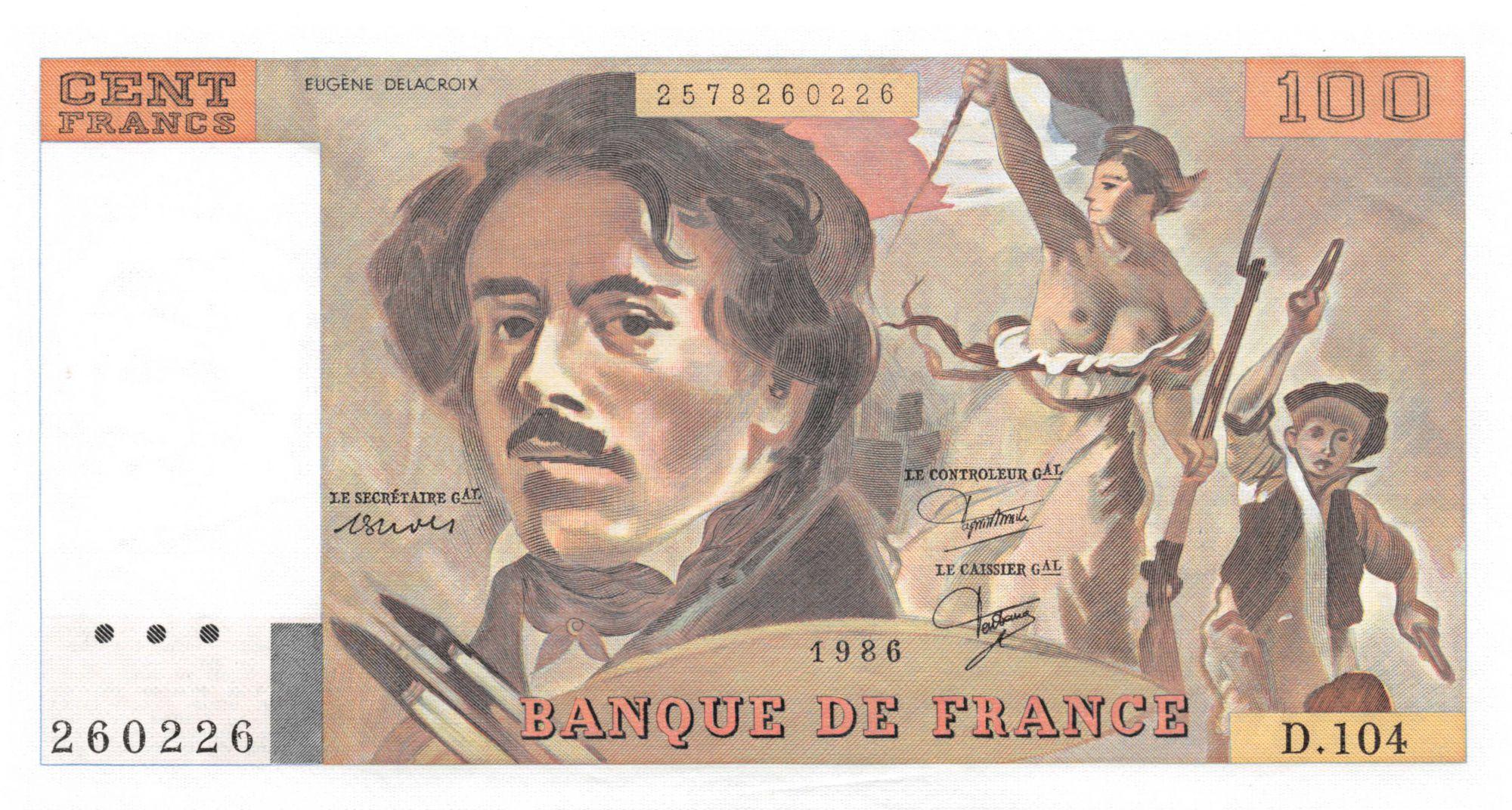France 100 Francs Delacroix - 1986 Série D.104 - SPL