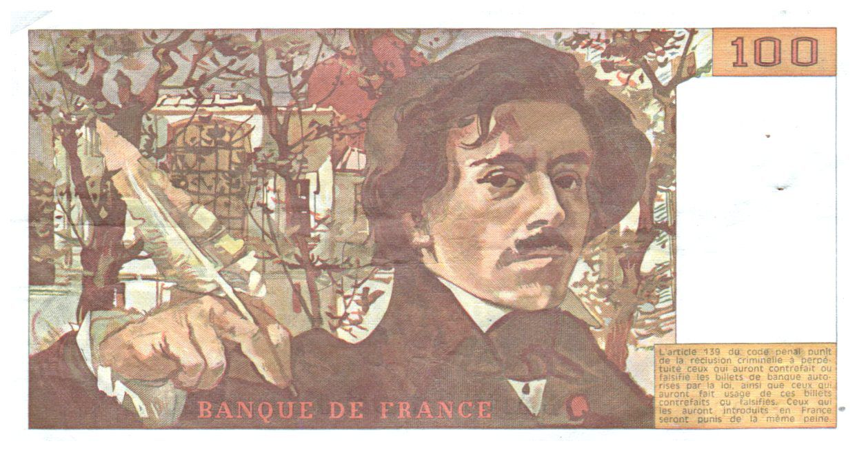 France 100 Francs Delacroix - 1986 VF