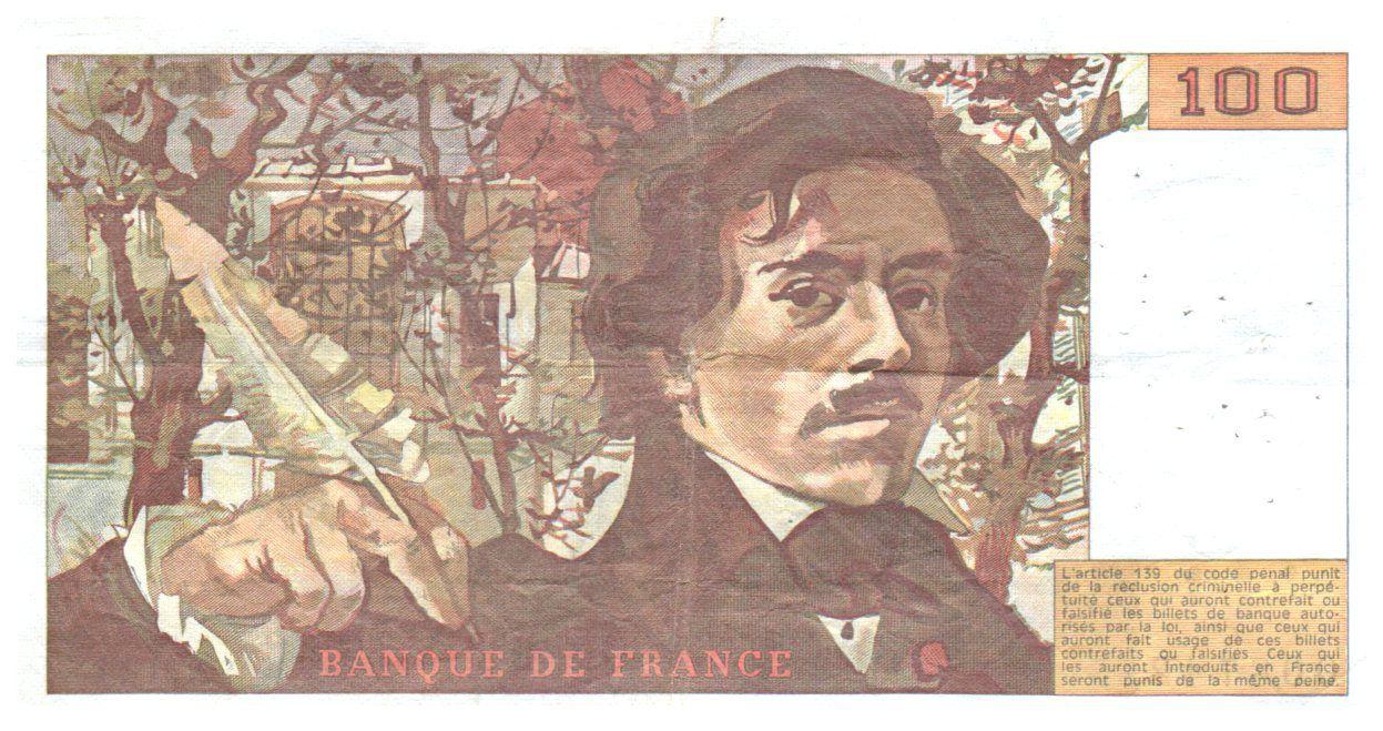 France 100 Francs Delacroix - 1987 TTB Hachuré